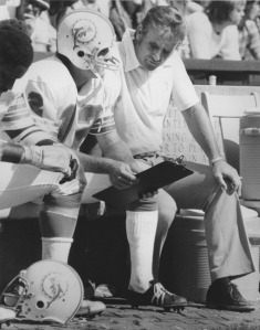 Head coach Don Shula and quaterback Bob Griese of the Miami Dolphins Sept. 23, 1973.  (Photo by Sporting News/Sporting News via Getty Images)