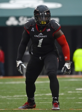 Dec 6, 2014; Cincinnati, OH, USA; Cincinnati Bearcats linebacker Jeff Luc (1) during the second half at Paul Brown Stadium. Mandatory Credit: Mike DiNovo-USA TODAY Sports