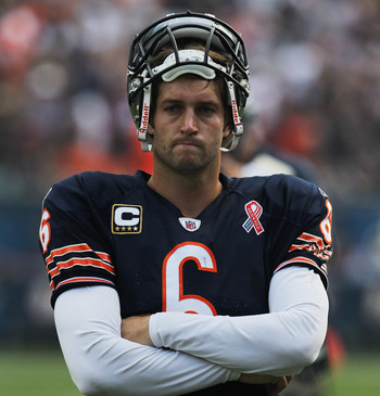 CHICAGO, IL - SEPTEMBER 11: Jay Cutler #6 of the Chicago Bears waits for officials to make a replay call against the Atlanta Falcons at Soldier Field on September 11, 2011 in Chicago, Illinois. The Bears defeated the Falcons 30-12. (Photo by Jonathan Daniel/Getty Images)