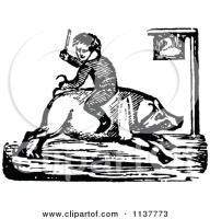 1137773-Clipart-Of-A-Retro-Vintage-Black-And-White-Boy-Riding-A-Pig-Backwards-Royalty-Free-Vector-Illustration