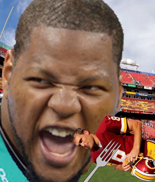 Sep 14, 2014; Landover, MD, USA; Washington Redskins quarterback Kirk Cousins (8) runs off the filed after the game against the Jacksonville Jaguars at FedEx Field. The Redskins won 41-10. Mandatory Credit: Geoff Burke-USA TODAY Sports