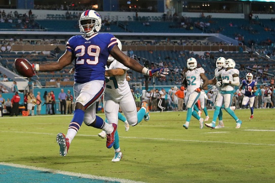 MIAMI GARDENS, FL - SEPTEMBER 27: Karlos Williams #29 of the Buffalo Bills scores a touchdown during a game against the Miami Dolphins at Sun Life Stadium on September 27, 2015 in Miami Gardens, Florida. (Photo by Mike Ehrmann/Getty Images)