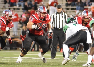 WKU Hilltoppers offensive lineman Forrest Lamp (76) during an NCAA football game between the North Texas Mean Green vs the WKU Hilltoppers, Saturday November 12, 2016 at Houchens Industries-L.T. Smith Stadium in Bowling Green Kentucky. (Photos by Steve Roberts/WKU Athletics)