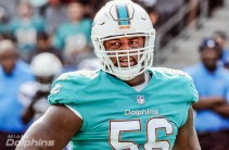 Miami Dolphins defensive tackle (56) Davon Godchaux on the field during the fourth quarter of an NFL game against the Los Angeles Chargers played at the StubHub Center in Carson, CA on Sunday, September 17, 2017. (AP Photo/John Cordes)